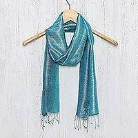 Silk scarf, 'Peacock Blue' - Artisan Crafted 100% Silk Teal Wrap Scarf from Thailand