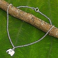 Sterling silver charm anklet, 'Elephant Bliss' - Artisan Crafted Sterling Silver Anklet with Elephant Charm