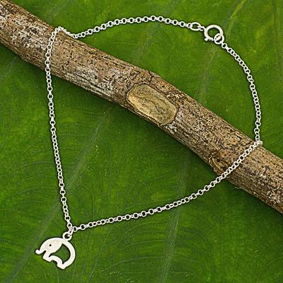 Sterling silver charm anklet, 'Blissful Elephant' - Hand Crafted Sterling Silver Anklet with Elephant Charm