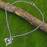 Featured review for Sterling silver anklet, Music of Love