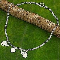 Sterling silver anklet, Elephant Romance