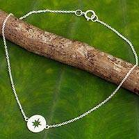 Sterling silver anklet, 'Compass' - Handcrafted Brushed Sterling Silver Anklet from Thailand