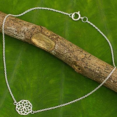 Sterling silver anklet, 'Blossoming Kaleidoscope' - Thai Artisan Crafted Sterling Silver Geometric Floral Anklet