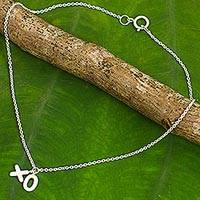 Sterling silver anklet, 'Kiss and a Hug' - Thai Artisan Crafted Anklet in Brushed Sterling Silver