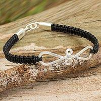 Leather and sterling silver braided bracelet,