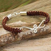 Leather and sterling silver braided bracelet, 'Brown Infinity Swirl' - Bracelet of Braided Brown Leather with Sterling Silver