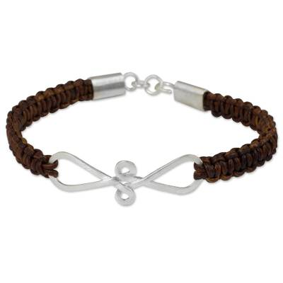 Bracelet of Braided Brown Leather with Sterling Silver