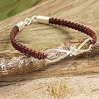 Sterling silver and leather pendant bracelet, 'Infinitely You' - Brown Leather Bracelet with Infinity Symbol Pendant