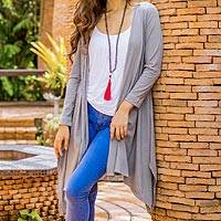 Cotton and linen blend cardigan, 'Chiang Mai Mist in Grey' - Cotton and Linen Blend Grey Cardigan from Thailand
