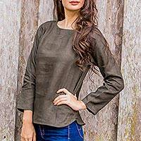 Linen blouse, 'Natural Expression in Loden' - Artisan Crafted 100% Linen Long Sleeved Blouse from Thailand