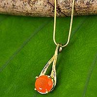Gold vermeil carnelian pendant necklace, 'A Singular Melody' - Thai Carnelian Necklace Handcrafted in Gold Vermeil