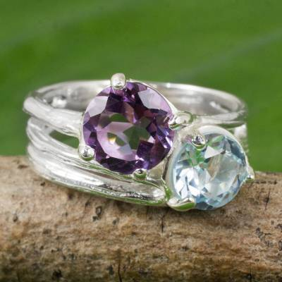 Amethyst and blue topaz cocktail ring, 'Cool Jazz Romance' - Handcrafted Amethyst and Blue Topaz Sterling Silver Ring
