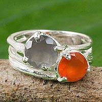 Carnelian and moonstone cocktail ring, 'Jazz Romance' - Handcrafted Silver 925 Ring with Carnelian and Moonstone