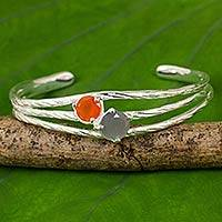 Carnelian and moonstone cuff bracelet, 'Jazz Romance' - Silver 925 Bracelet Handcrafted with Carnelian and Moonstone