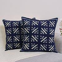 Cotton cushion covers, 'Blue Hmong Starbursts' (pair) - Hill Tribe Artisan Crafted Cotton Batik Cushion Covers (Two)