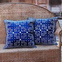 Cotton cushion covers, 'Blue Hmong Labyrinth' (pair) - Two Hill Tribe Artisan Crafted Cotton Batik Cushion Covers