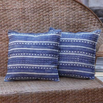 Cotton cushion covers, 'Blue Hmong Charm' (pair) - Set of 2 Blue Striped Hill Tribe Cotton Batik Cushion Covers