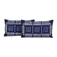 Cotton cushion covers, 'Blue Hmong Windows' (pair) - Set of 2 Elongated Hill Tribe Cotton Batik Cushion Covers