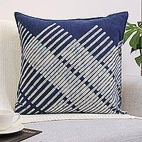 Cotton cushion cover, 'Diagonal Bamboo' - Blue Hill Tribe Cotton Batik Cushion Cover (24x24 Inch)