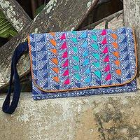 Cotton batik wristlet, 'Indigo Orange' - Indigo Blue Cotton Wristlet Lined Purse with Butterfly Charm