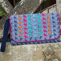 Cotton batik wristlet, 'Indigo Fuchsia' - Butterfly on Indigo Blue Cotton Wristlet with Fuchsia Lining
