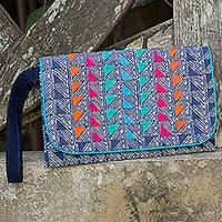 Cotton batik wristlet, 'Indigo Turquoise' - Butterfly on Indigo Blue Cotton Wristlet Lined Purse