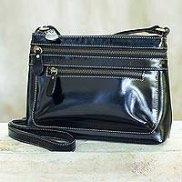 Leather shoulder bag, 'Happy Day in Black' - Hand Crafted Leather Shoulder Bag in Black