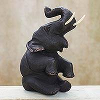 Teakwood sculpture, 'Happy Baby Elephant' - Thai Hand Carved Teakwood Baby Elephant Sculpture
