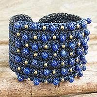 Lapis lazuli wristband bracelet,