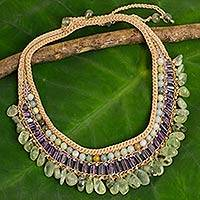 Multi gemstone choker, 'Gladiolus Dance' - Crocheted Amethyst and Prehnite Choker with Amazonite