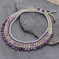 Amethyst and labradorite choker, 'Hydrangea Dance' - Amethyst and Labradorite Artisan Crafted Crocheted Choker