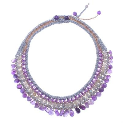 Amethyst and Labradorite Artisan Crafted Crocheted Choker