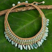 Amazonite and prehnite choker, 'Mint Dance' - Thai Hand Crocheted Amazonite and Prehnite Choker