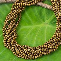 Wood torsade necklace, 'Forest Nuance' - Handcrafted 10-Strand Boxwood Beaded Torsade Necklace