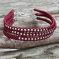 Silver beaded wristband bracelet, 'Crimson Moons' - Dark Red Braided Wristband Bracelet with Silver Beads