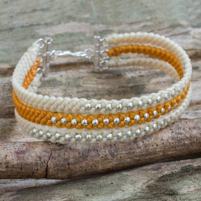 Silver beaded wristband bracelet, 'Orange and Cream' - Ivory and Orange Macrame Bracelet with Hill Tribe Silver