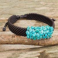 Beaded cord bracelet, 'Cranberry Chic' - Thai Brown Macrame Bracelet with a Cluster of Blue Gemstones