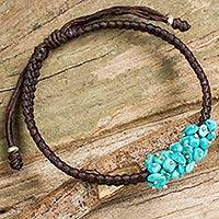 Beaded cord bracelet, 'Cozy Chic' - Handmade Reconstituted Turquoise and Polyester Bracelet