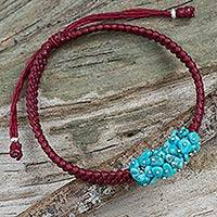 Beaded cord bracelet, 'Turquoise Chic' - Handmade Red Cord Bracelet with Reconstituted Turquoise