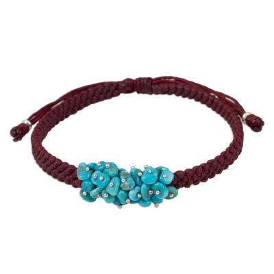 Handmade Red Cord Bracelet with Reconstituted Turquoise