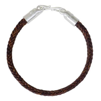 Hand Crafted Leather Braided Bracelet with Elephant Motif