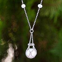 Cultured pearl pendant necklace, 'Lily Cologne' - Hand Crafted Pearl and Sterling Silver Pendant Necklace