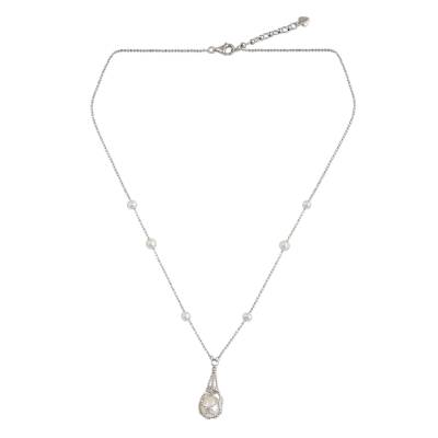 Hand Crafted Pearl and Sterling Silver Pendant Necklace