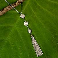 Cultured pearl pendant necklace, 'White Lily Cascade' - Thai Handcrafted Cultured Pearl and Sterling Silver Necklace