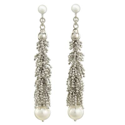 Thai Sterling Silver Beaded White Pearl Hook Earrings