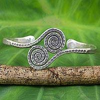 Silver cuff bracelet, 'Young Fern Tendrils' - Thai Hill Tribe Artisan Crafted Silver 950 Cuff Bracelet