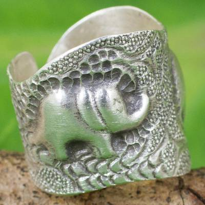 Artisan Crafted 950 Silver Ring with Elephants from Thailand
