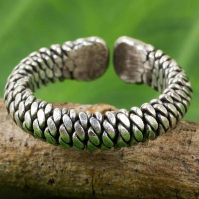 Artisan Crafted Thai Silver Wrap Ring with Rope Motif
