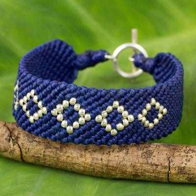 Silver and polyester braided bracelet, 'Blue Geometric' - Hand Crafted Polyester Braided Bracelet with Silver Beads