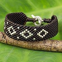 Silver and polyester braided bracelet,